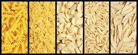 stock photo of pene  - Image of italian pasta set background texture - JPG