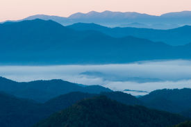 image of smoky mountain  - Fog filled valley in the Smoky Mountains - JPG