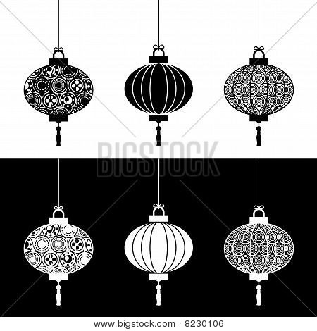 black and white paper lanterns