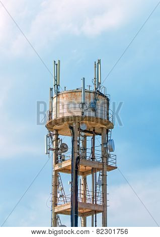 Old Water Tower With Cellular Communications.
