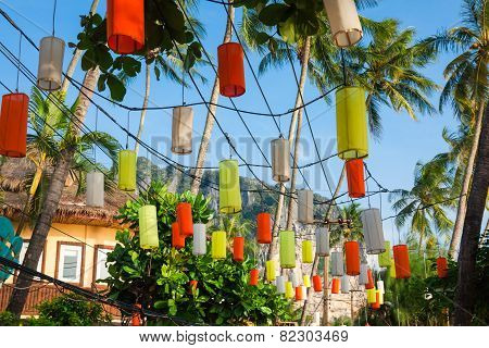 Hanging Colorful Celebration Decorative Element In The Krabi ,thailand
