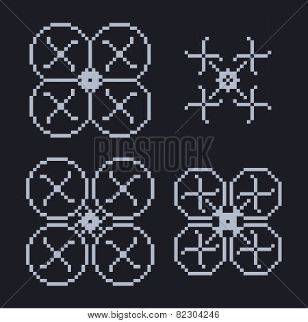 simple set of pixel art style light blue quadcopter shape with four propellers