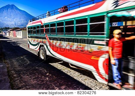 Local Bus & Agua Volcano, Antigua, Guatemala