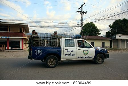 Honduran National Police On Patrol