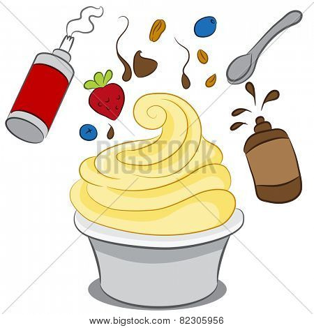 An image of a cup of frozen yogurt with condiments.