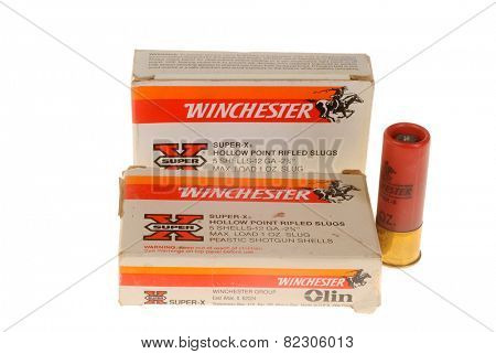 Hayward, CA - February 2, 2015: Box of Winchester Brand slugs, ammunition for a shotgun