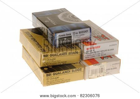 Hayward, CA - February 2, 2015: Box of Various Brands of ammunition for a shotgun