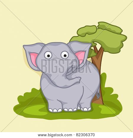 Cute funny cartoon of a elephant on nature view background.