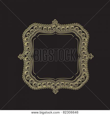 Vintage designer frame with space for your message on black background.