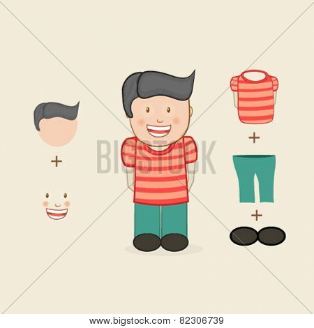 Cute little boy with different dress accessories.