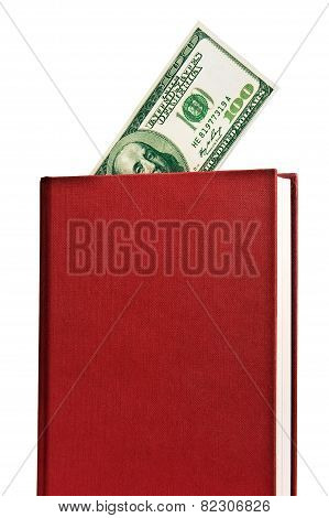 Red Book With Blank Cover And Money