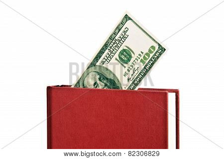 Angled Red Book With Blank Cover and Money