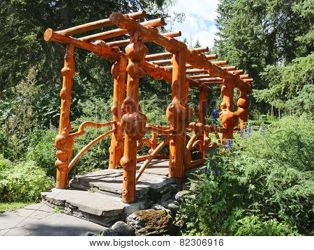 Natural Wooden Bridge in the Cascade Park in Banff, Canada