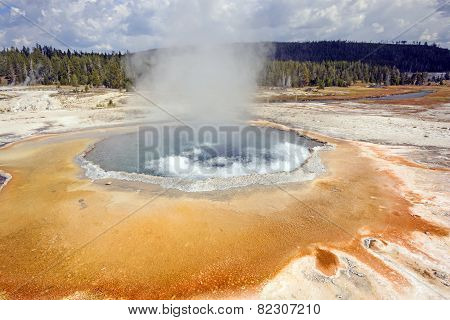 Boiling Water In A Coloful Hot Spring