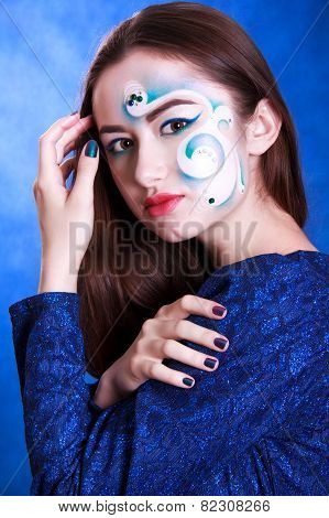 Portrait Of A Young Attractive Woman With A Blue Face Art