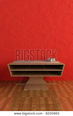 Modern sideboard with red background