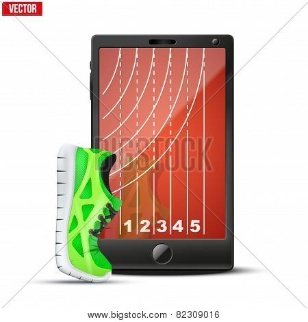 Smartphone with run shoes and running track on the screen.