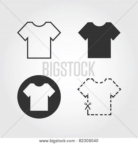 t-shirt icons set, flat design