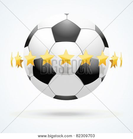 Vector illustration of football ball with golden stars