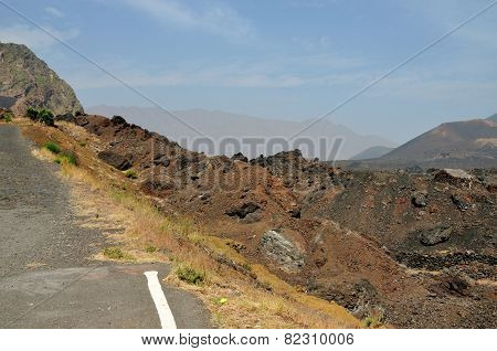 Volcano Landscape By The Road