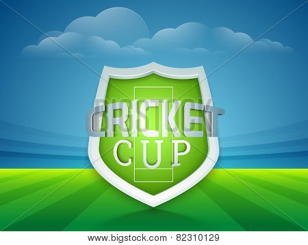 Glossy winning shield of Cricket Cup on stadium background.