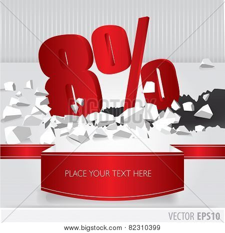 Red 8 Percent Discount On Vector Cracked Ground On White Background