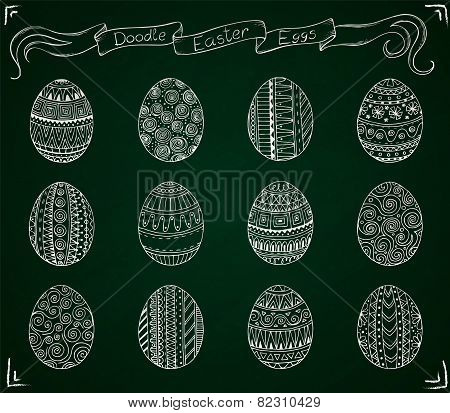 Chalk doodle vector Easter set with eggs.