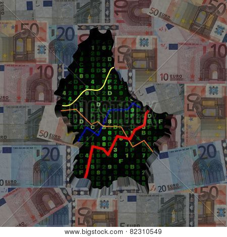 Luxembourg map with hex code and graphs on euros illustration