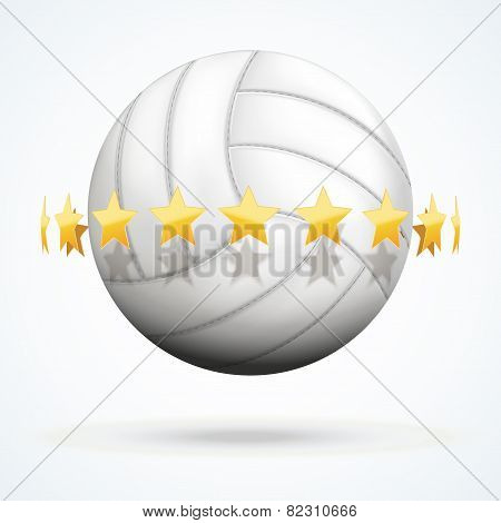 Vector illustration of volleyball ball with golden stars