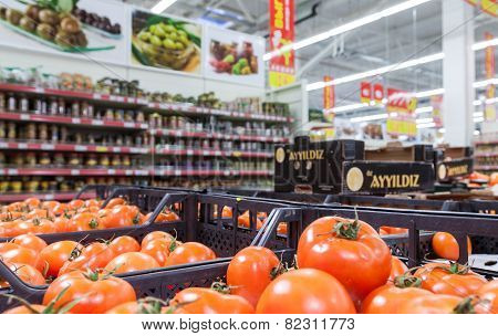 Fresh Vegetables Ready For Sale In The Hypermarket