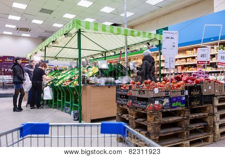 Fresh Vegetables Ready For Sale In Perekrestok Samara Store, Russia
