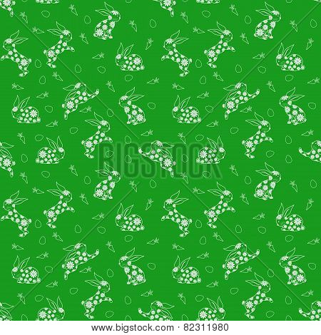 Seamless Pattern With White Rabbits Over Green