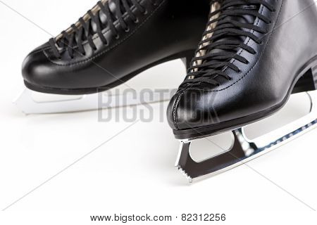 Pair Of Professional Male Figure Skates Together. Over White Background