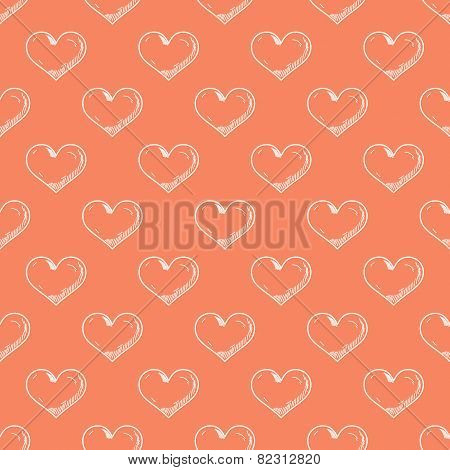 Hand drawn heart on red background seamless pattern.