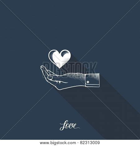 Heart in hand on dark blue background with long shadow.