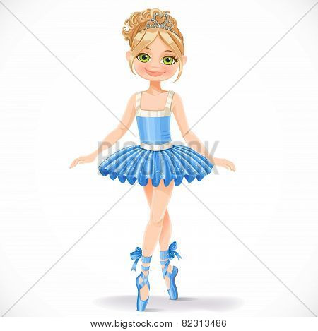 Cute Ballerina Girl In Blue Dress Isolated On A White Background