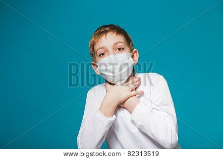 Boy Wearing Protection Mask Is Short Of Breath
