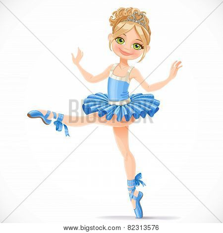 Graceful Ballerina Girl Dancing In Blue Dress Isolated On A White Background