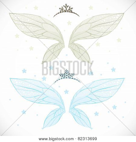 Winter Fairy Wings With Tiara Bundled Isolated On A White Background With Snowflakes