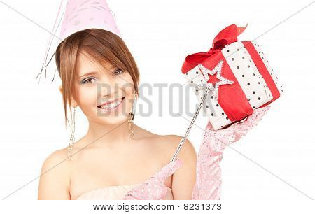 Teenage Party Girl With Magic Wand And Gift Box