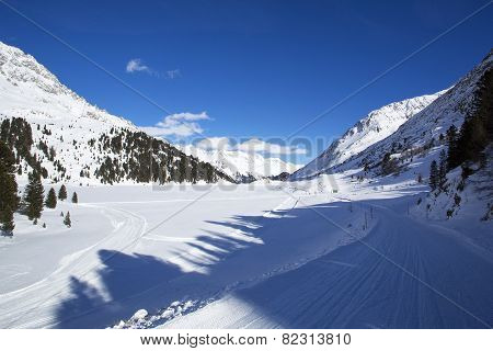 Frozen Lake Obersee In The Austrian Alps