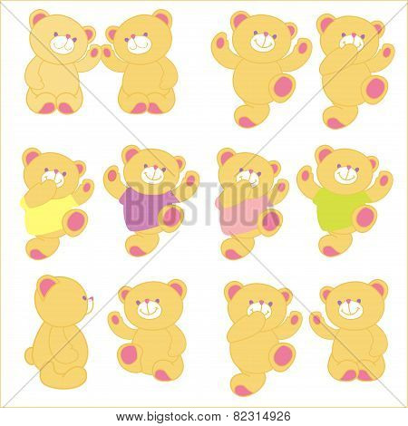 Vector illustration of teddy bear in different pose. Set