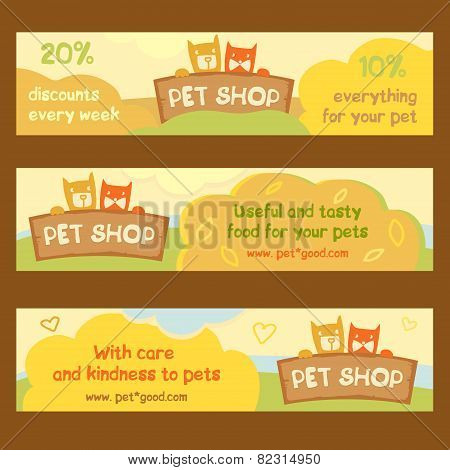 Logo, emblem store for cats and dogs. Cartoon illustration. Editable.A series of banners for adverti