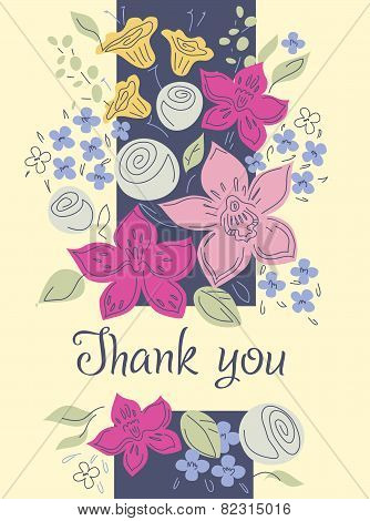Vector card with a bouquet of flowers. Thank you. Decorative flowers. Orchids and roses