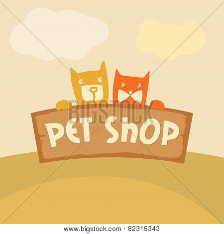 Logo, emblem store for cats and dogs. Cartoon illustration.