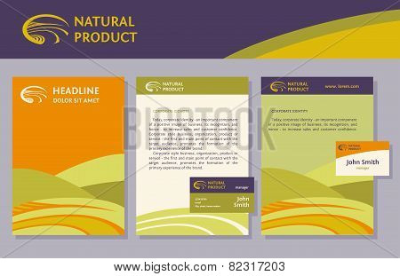 The set of proprietary elements, logo, folder, letterhead, business card, badge