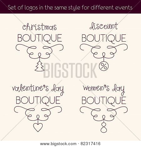 Set of logos in the same style for different events. Series of holiday logos for shop. Christmas dis