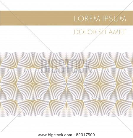 Vector background with geometric patterns. Concentric ribbon pattern. Volume effect. Golden hue