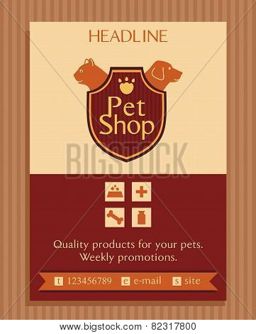 Vector logo for a pet store in heraldic style. Accessories for pets. Dog and cat. Brochure, Flyer de
