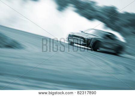 Very Fast Driving, Motion Blur Blue Color Drift